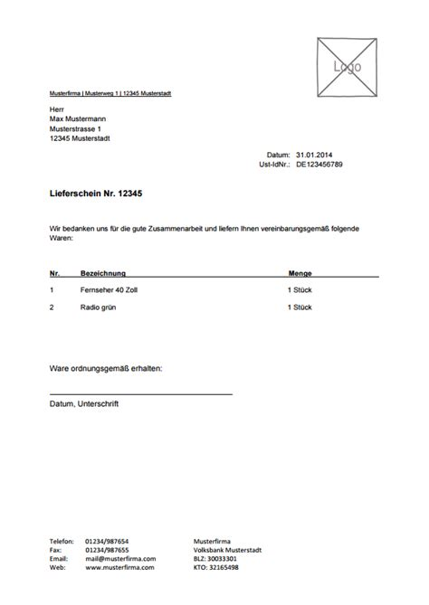 Muster Rechnung Bau vorlage f 252 r lieferschein zum kostenlosen