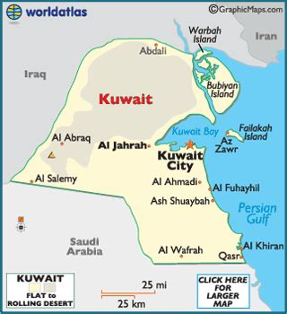 middle east map showing kuwait kuwait map geography of kuwait map of kuwait