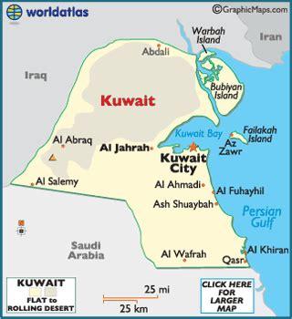 kuwait landforms, geography world atlas