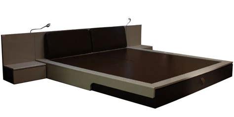 flute platform king bed with bedside mobile unit by godrej