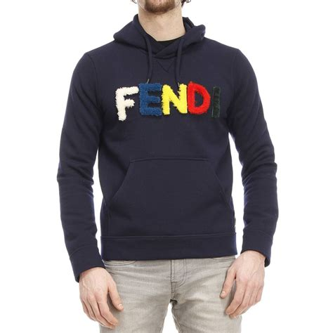 Hoodie Sweater Initial D Impact Blue Navy Front Logo fendi logo cotton sweater in blue for lyst