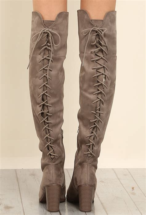 thigh high boots lace up back back lace up thigh high boots shop at papaya clothing