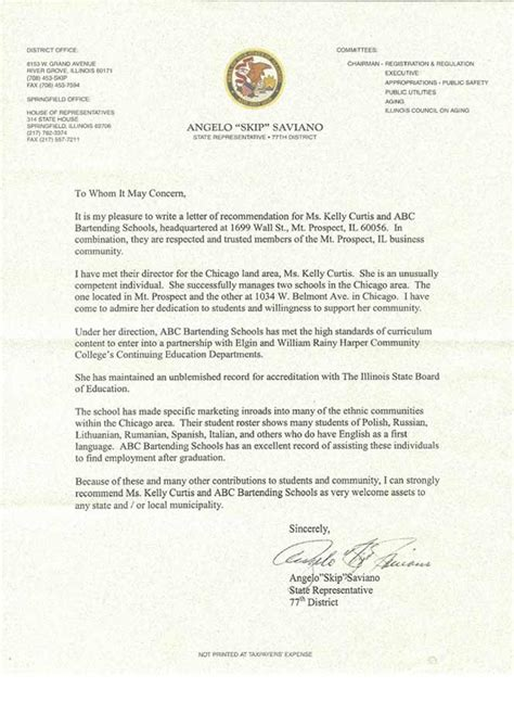 Recommendation Letter For Outstanding Student Abc Bartending Schools Testimonials