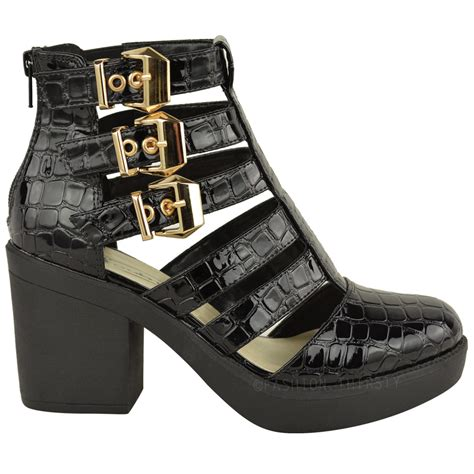Winter Shoes Most Stylish Cutout Shoes by New Womens Cut Out Gladiator Strappy Ankle Boots