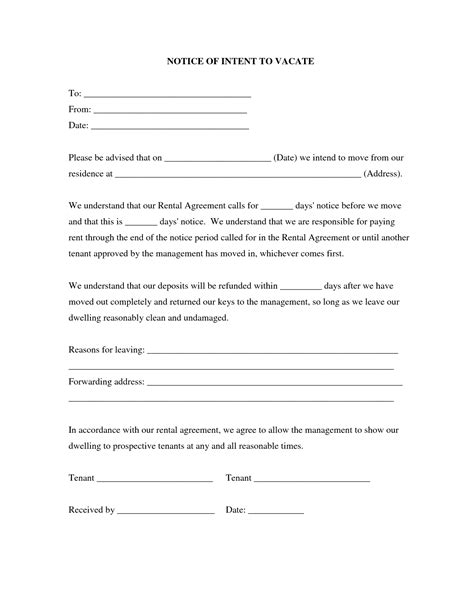 30 day notice to vacate california template best photos of sle 30 day notice form 30 day notice