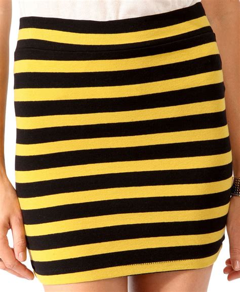 Stripe Basic Bodycon black and yellow striped skirt dress ala