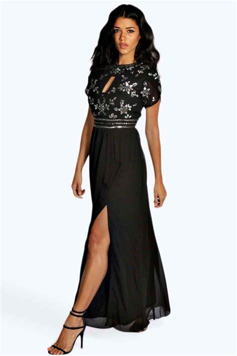 maxi jurken boohoo boohoo womens callie boutique embellished chiffon maxi