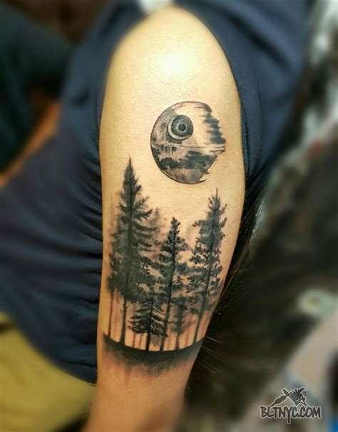 body language tattoo black and gray forest with by nasa at