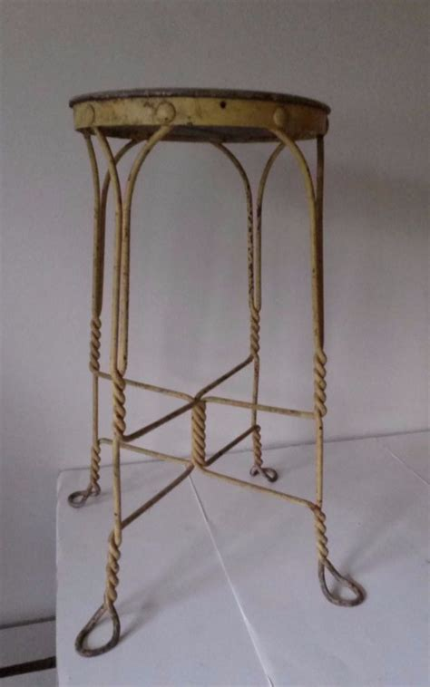 Antique Wrought Iron Bar Stools by Antique Twisted Wrought Iron Wood Stool
