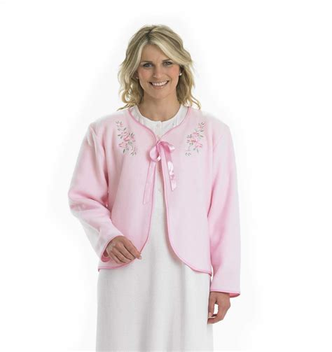 womens bed jacket womens fleecy bed jacket slenderella ribbon tie floral