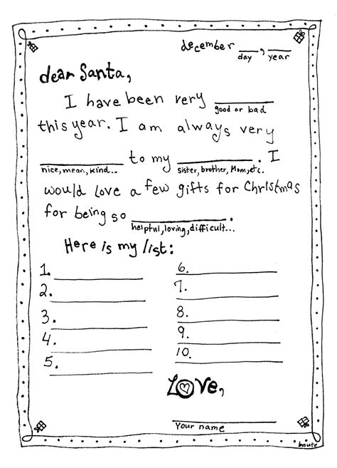 letter to santa template free printable black and white 7 best images of santa mad libs printable santa mad lib