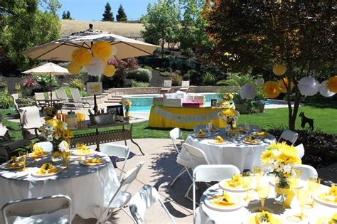 outdoor bridal shower ideas outdoor bridal shower yellow and white theme yellow