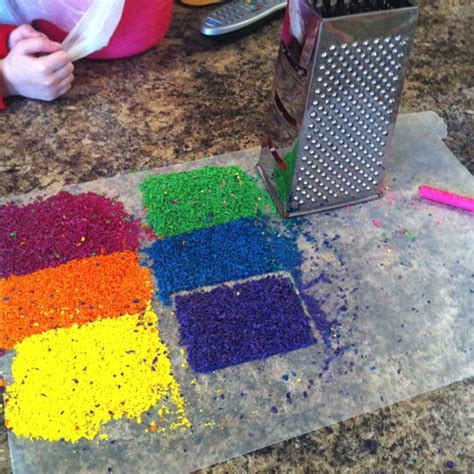 Wax Paper Crafts - cheap grater way to shave crayons for melted crayon