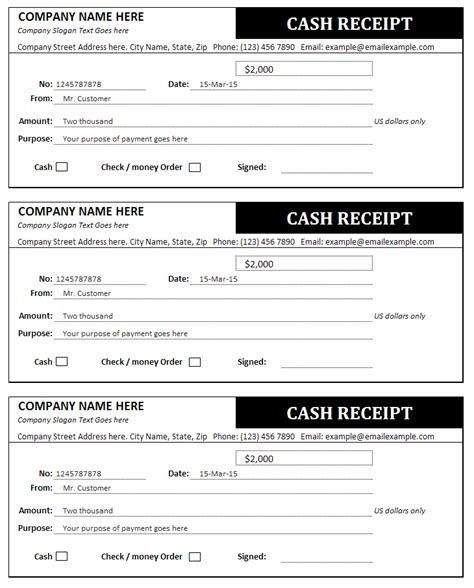 cash receipt template office templates pinterest