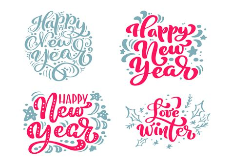set happy  year vector text calligraphic lettering merry christmas design card template
