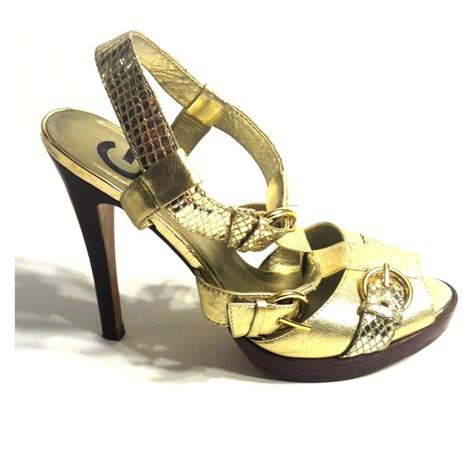 guess gold high heels guess guess gold stacked heel sandals from s closet