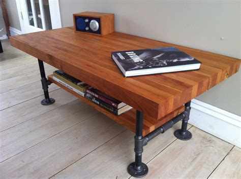 butcher block desk legs cherry coffee table modern industrial style featuring