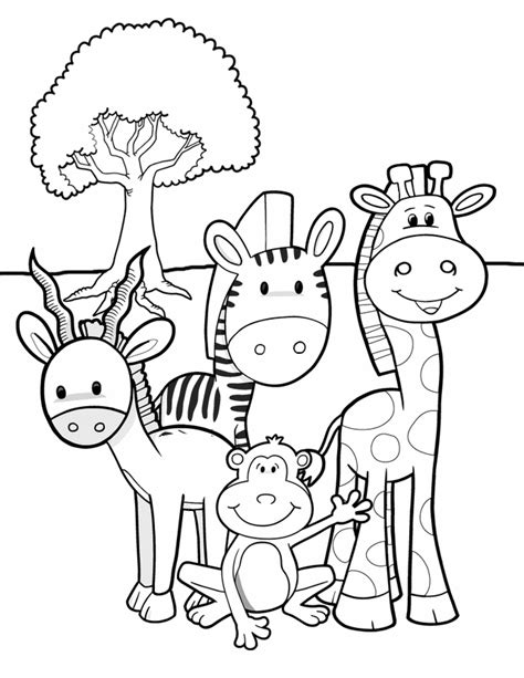 free coloring pages jungle theme safari friends free printable coloring pages