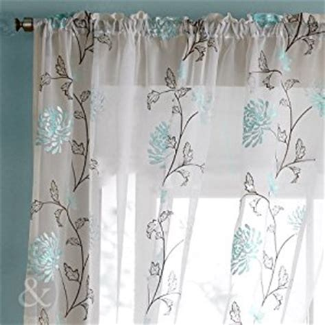 chocolate brown and teal curtains floral voiles slot top ready made embroidered curtain