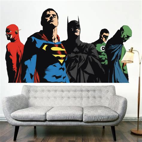 justice league wall stickers superheroes justice league bedroom wall decals comic wall decor primedecals