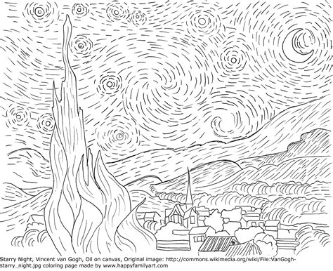 coloring pages van gogh starry starry night van gogh starry night coloring page coloring pages