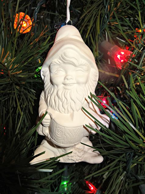 gnogan tiny gnome christmas ornament paintable ceramic
