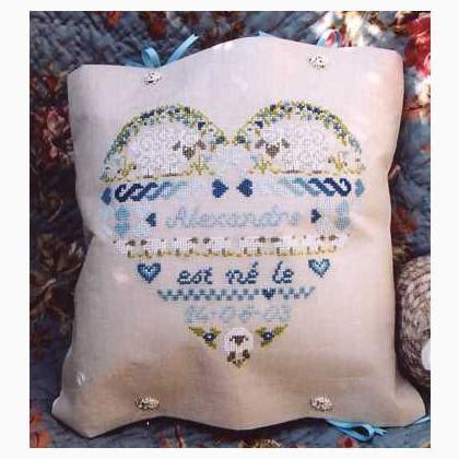 cuscino nascita punto croce cuscino cuore della nascita da bleu de chine schemi