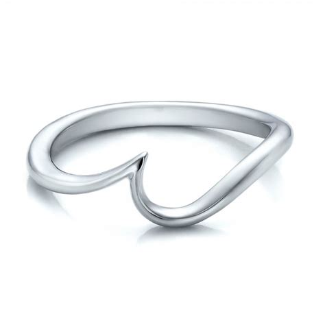 contemporary curved white gold wedding band 100409