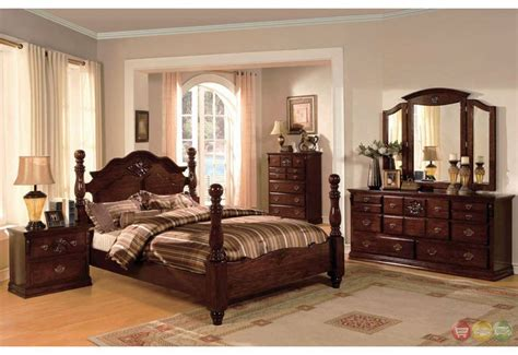 queen poster bedroom set coventry traditional queen poster bed dark pine 4 piece