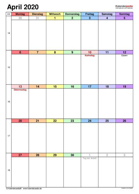 kalender april  als  vorlagen