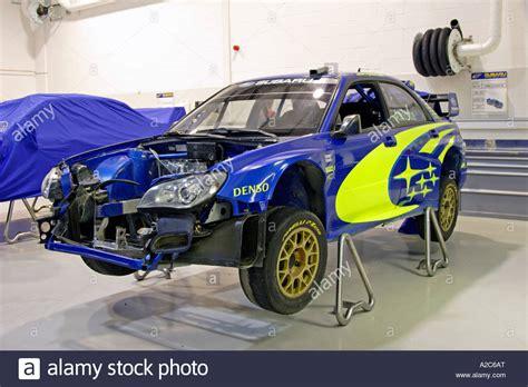 subaru world subaru impreza world rally car being prepared in swrt