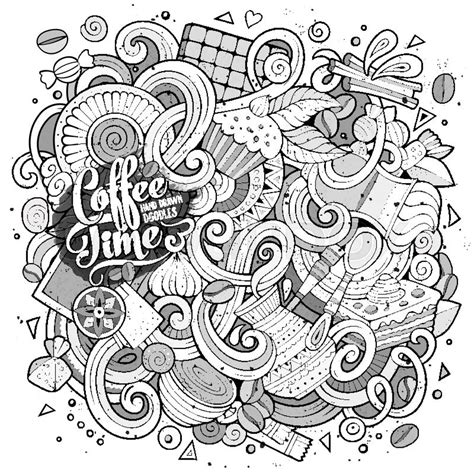 Cartoon Hand Drawn Doodles Of Cafe Coffee Shop Background | cartoon hand drawn doodles cafe coffee shop illustration