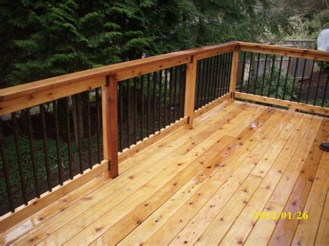 Metal Deck Spindles Second Story Cedar Deck Deck Masters Llc Portland Or