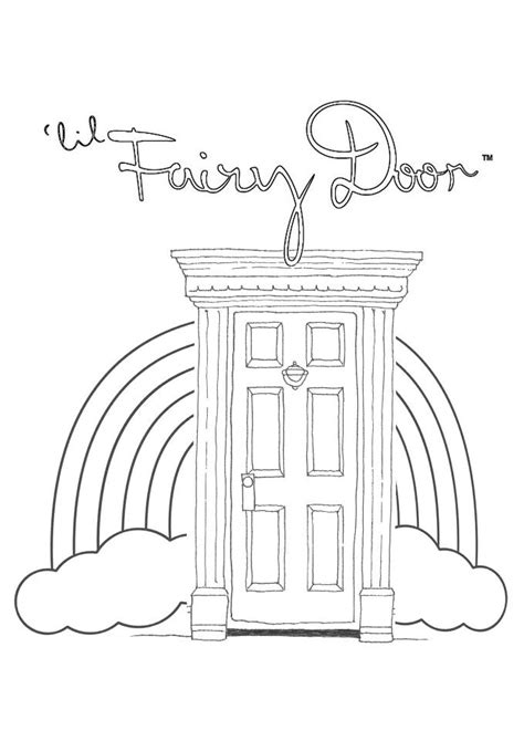 fairy door coloring page little fairy door templates rainbow door colouring page