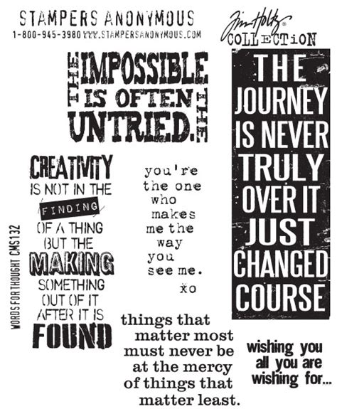 rubber st words sters anonymous tim holtz words for thought st set