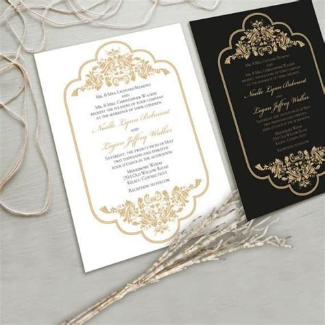 black and gold wedding invitations etsy timeless and wedding invitation suite white and gold black and gold other color