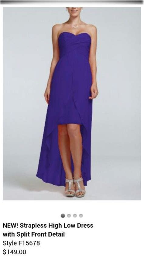 regency color dress strapless high low dress with split front detail style f15678