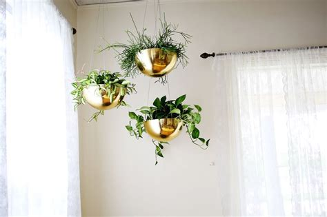 Gold Home Decor by Hanging Vintage Brass Planters A Beautiful Mess