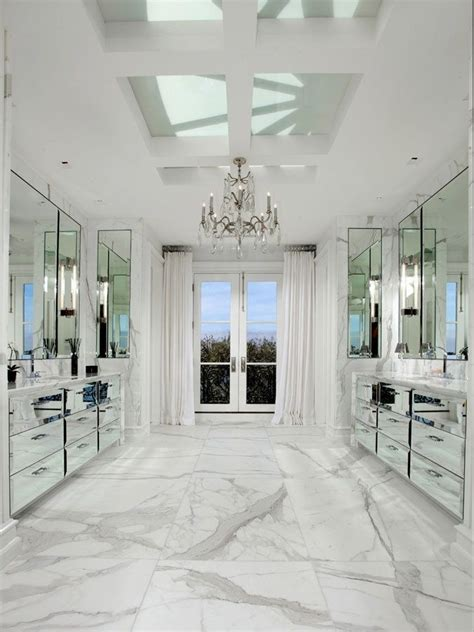 167 mirrored vanity cabinets white carrara marble floors and