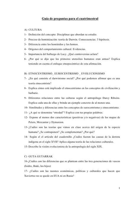 preguntas guia concepto gu 237 a de preguntas para el cuatrimestral