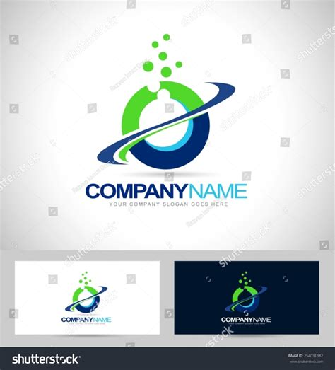 layout with logo circle logo design swash blue green stock vector 254031382