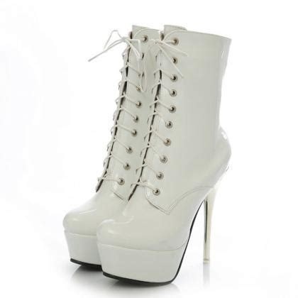 white lace up high heel boots white lace up high heels fashion boots on luulla