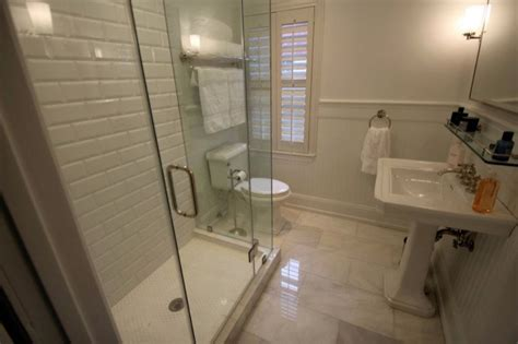 Tan And White Chevron Shower Curtain White Subway Tile Bathroom Design Ideas