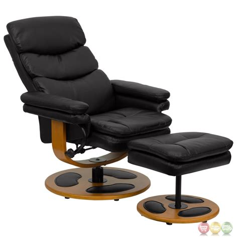 contemporary leather recliners with ottoman contemporary black leather recliner and ottoman with wood base