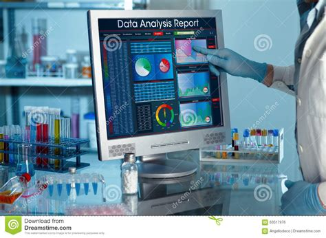researcher touching  screen  report research data