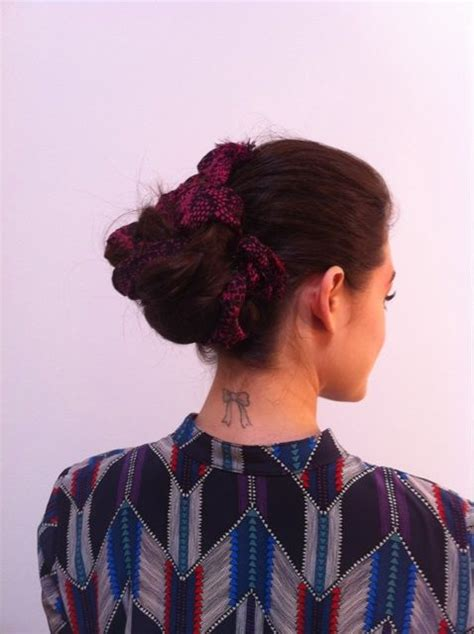 lucy hale tattoo hale bow on back of neck tattoos