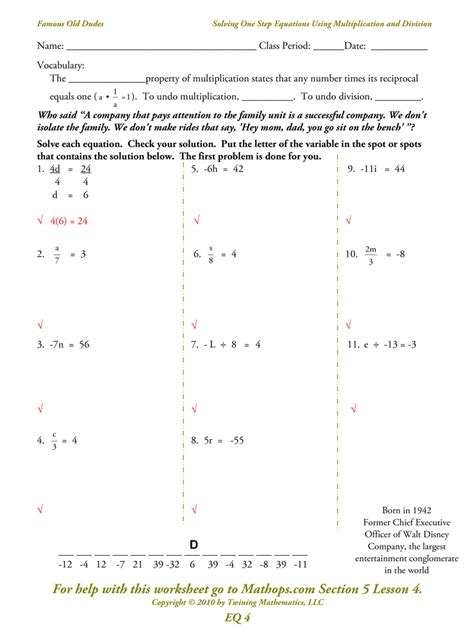 One Step Equations Worksheet by Solving One Step Equations With Decimals Worksheet One