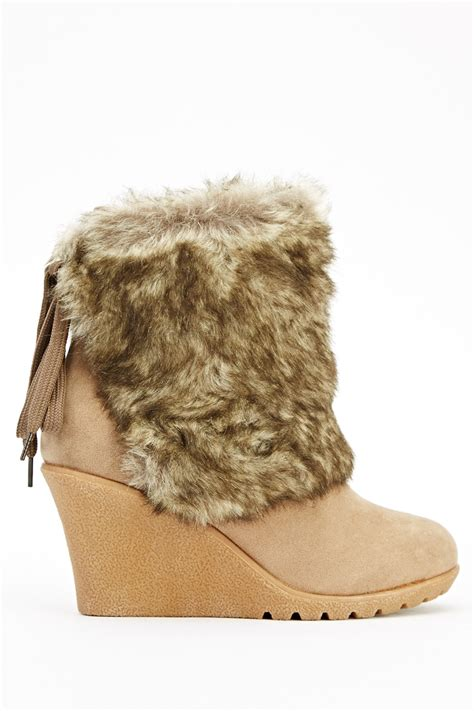 faux fur wedge boots brown or khaki just 163 5