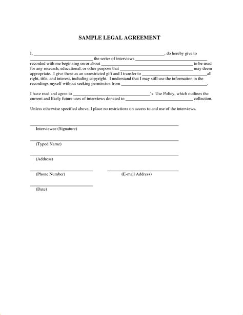 28 free legal agreement templates image gallery
