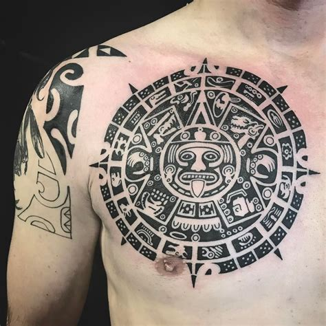 aztec calendar tattoo polynesian chest part of mayan calendar